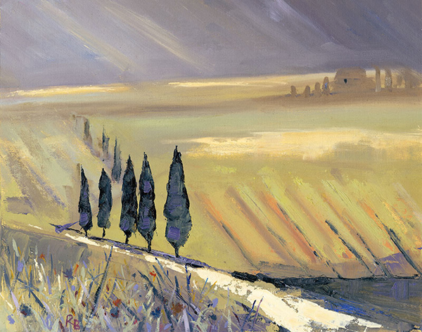 Ruth Bond, Tuscany Storm Approaching Cyprus Trees